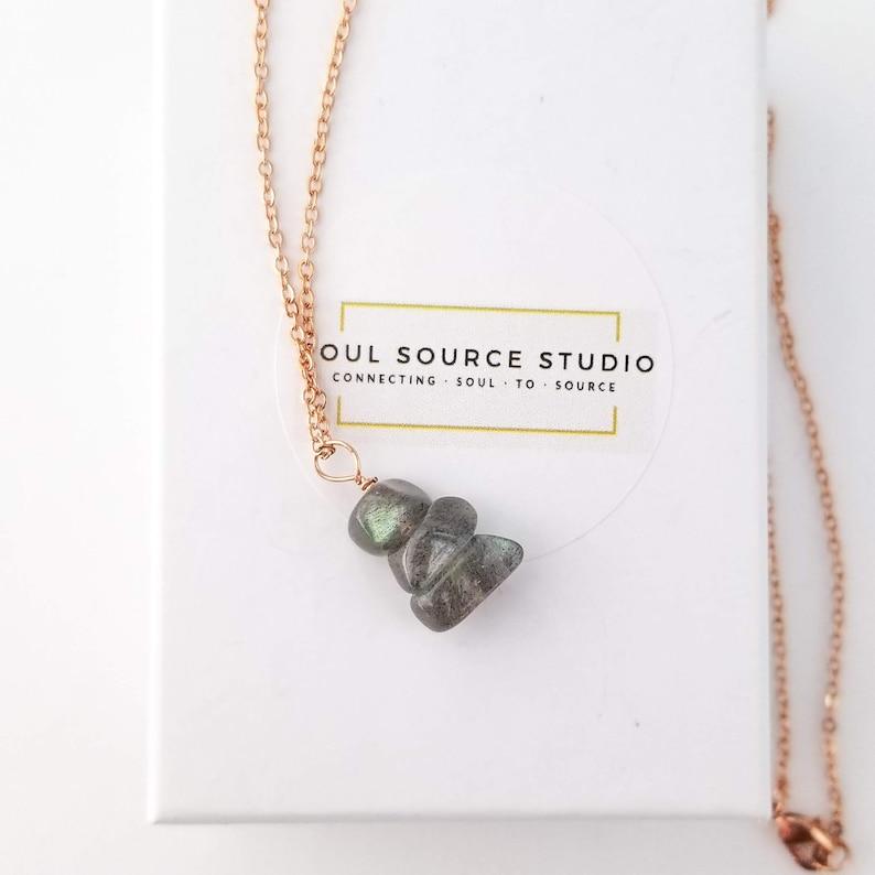Labradorite Reiki Charged Gemstone Necklace, 18