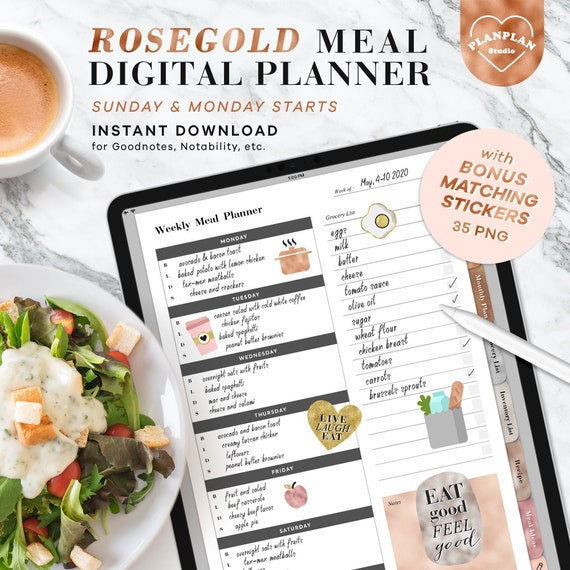Digital Meal Planner in Rosegold Meal Planner Templates