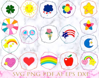 image about Care Bear Belly Badges Printable referred to as Treatment bears Etsy