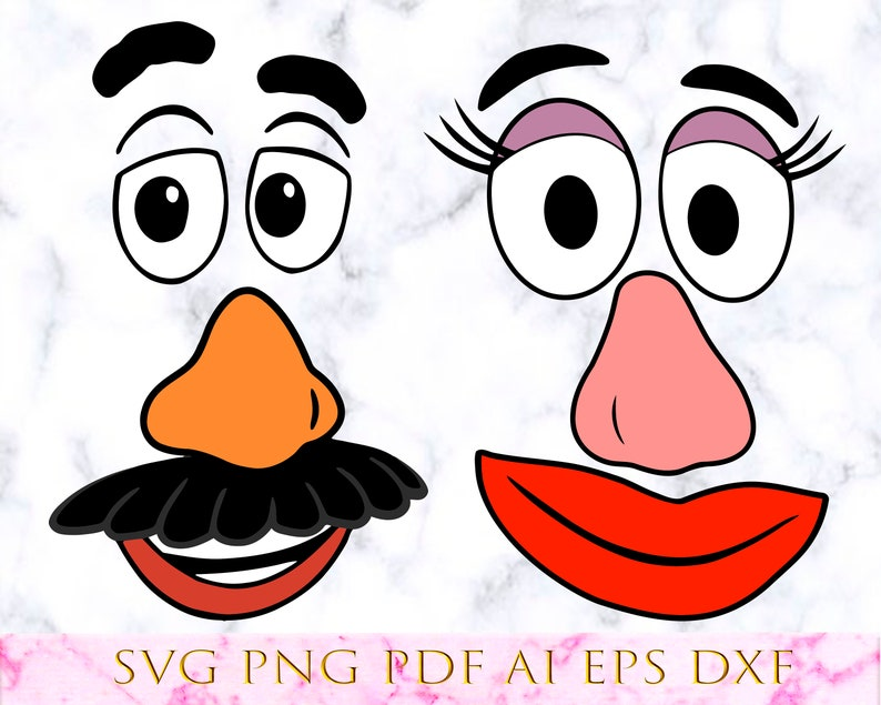 picture regarding Mr Potato Head Printable identified as 2 Mr and Mrs Potato Brain Faces Toy Tale 3 4 vector slice Cricut svg png pdf dxf eps ai Electronic think about Silhouette obtain printable Clipart
