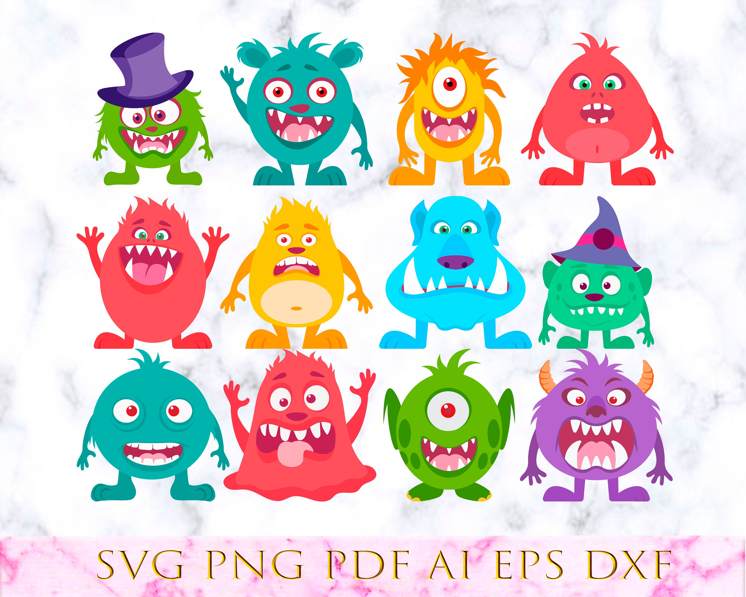 12 Monsters Ugly Vector Cut Files Cricut Cuttable Icons Svg Etsy