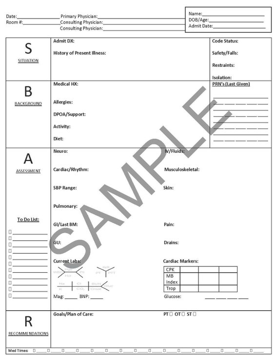 Nursing Assignment Report Sheet Brain 1 Patient Per Page Etsy