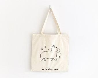 Corgi White Eco-Friendly Tote Bag | 100% Certified Organic Cotton | Sustainable Grocery or Market Tote