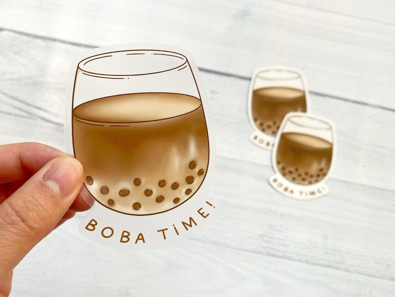Boba Time Vinyl Sticker  Sticker Decal for Laptop Water image 0