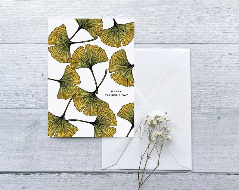 Ginkgo Leaves Fathers Day Greeting Card  Folded Blank Card image 0