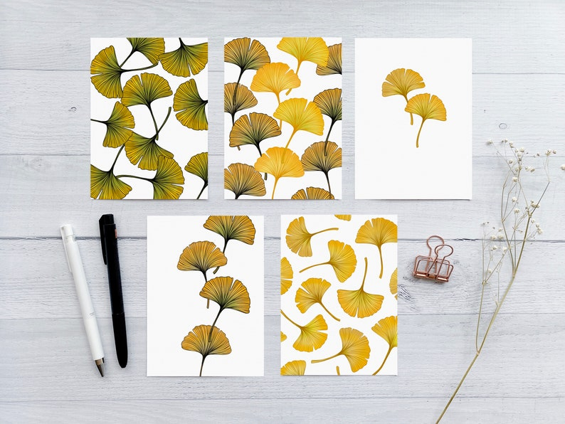 Ginkgo Leaves Mixed Greeting Card Set  5 Blank Folded Cards image 0