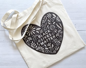Black Lives Matter Eco-Friendly Tote Bag | 100% Certified Organic White Cotton | Portion of Profits Donated to BLM Organizations