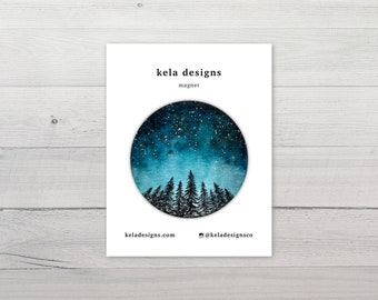 Starry Night Forest Magnet | Magnet for Refrigerator or Car | Watercolor Painting
