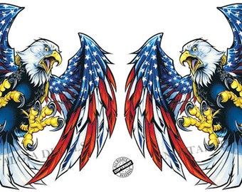 c337fbb7d949 Screaming American Flag Bald Eagle Wings Pairs Decals