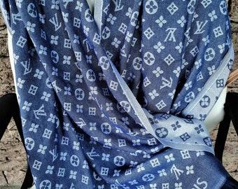 3e7f4d8269cc1 Louis Vuitton - Scarf Men - Lv Denim Shawls - Large Scarves Lv Logo -  Inspired Vuitton - Awesome Gift