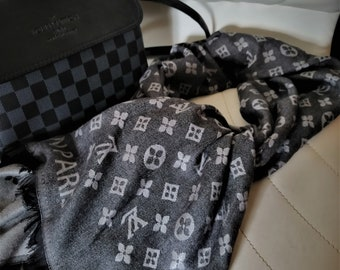 3d2ca92035e7 Louis Vuitton Scarf - Inspired LV Shawls - Men Scarf Louis Vuitton - Black  Silver Gray