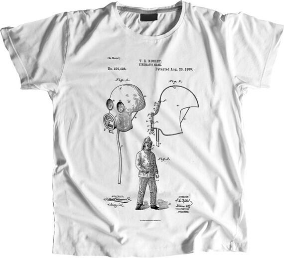 Fireman's Mask T shirt, Fireman's Mask Patent T shirt, Firefighter Gift, Mask, Firefighter, Patent Art Shirt, Blueprint Tshirt