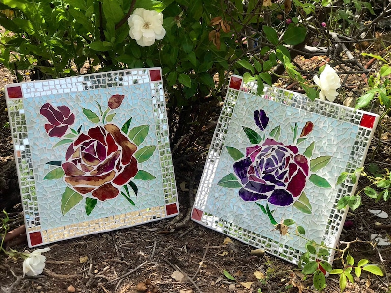 flowers mosaic Red roses diptych glass mosaics wall art for home decor housewarming gift