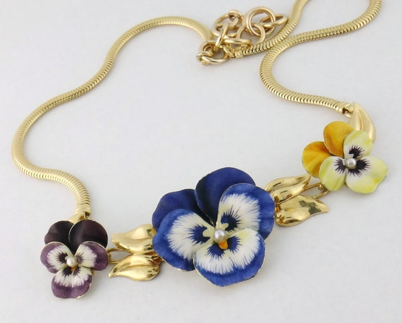 Vintage 14K Gold Enamel Enameled Three Pansy Snake