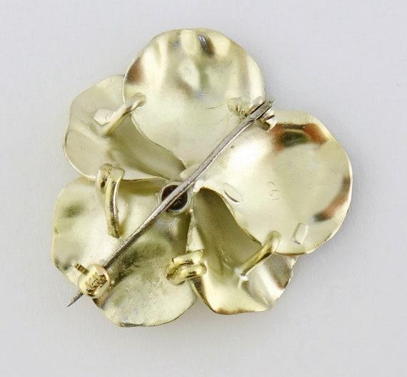Vintage 14K Enamel Enameled Pearl Large Pansy Flo… - image 8