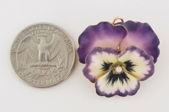 Antique Victorian 14K Gold and Enamel Pansy Brooc… - image 5