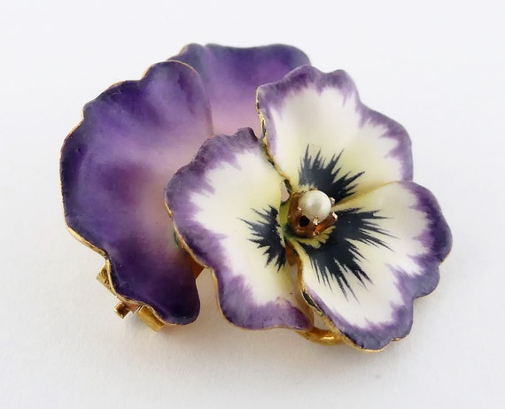 Antique Victorian 14K Gold and Enamel Pansy Brooc… - image 3