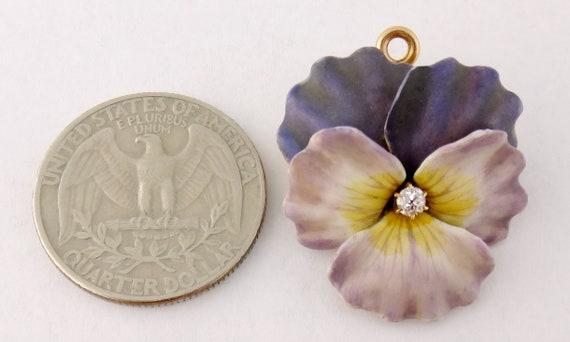 Antique Art Nouveau 14K Enamel Enameled Diamond P… - image 4