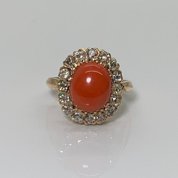 Exquisite Victorian Coral Cabochon Ring