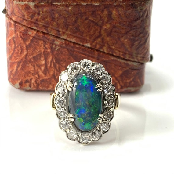 Art Deco Platinum Black Opal Ring