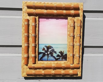 Bamboo and wicker photo frame - Wall frame - Photo frame