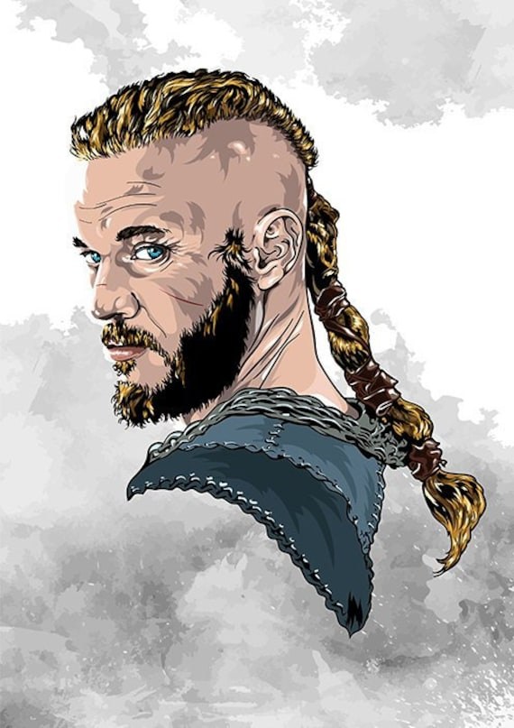 Vikings Ragnar Lothbrok Heroes Digital Print Wallpaper Illustration