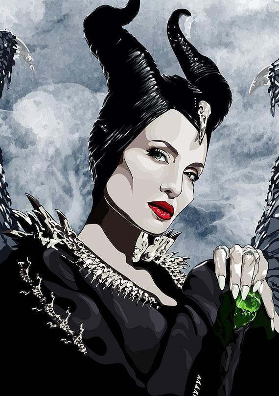 Maleficent Inspired Digital Drawing Print