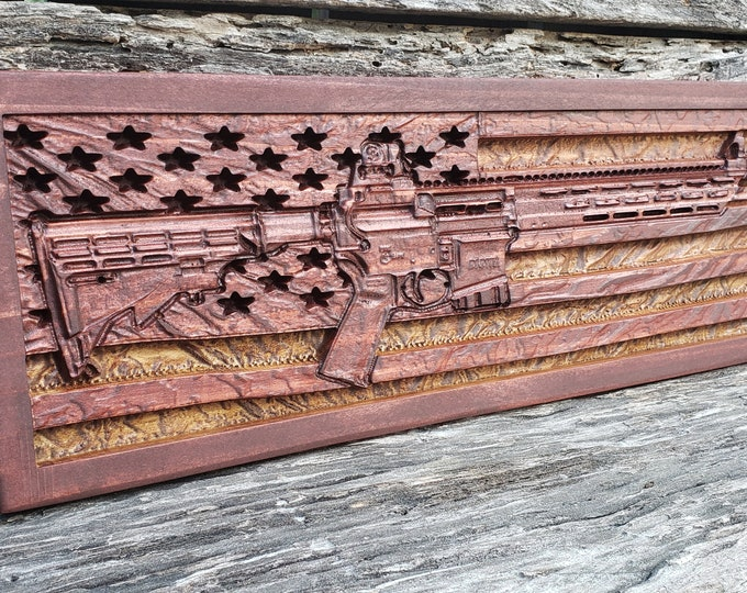 AMERICAN FLAG AR-15 Rifle Gun Decor Patriotic Decor Father's Day Gift Birthday Gift For Men Military Plaque Ar 15 Rifle Decor Man Cave Sign