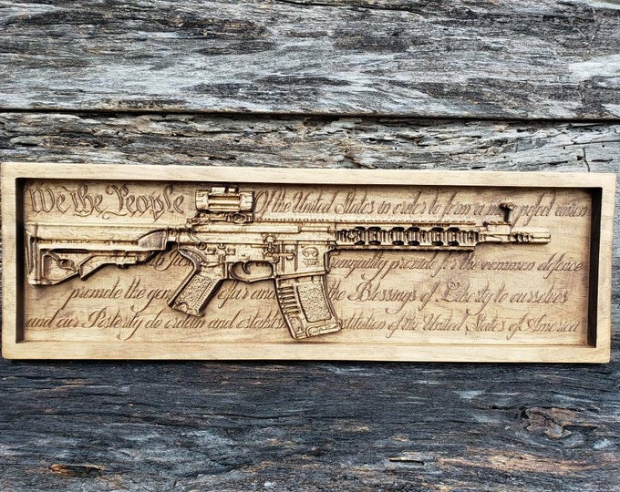 AR-15 Rifle With U.S. Constitution Background