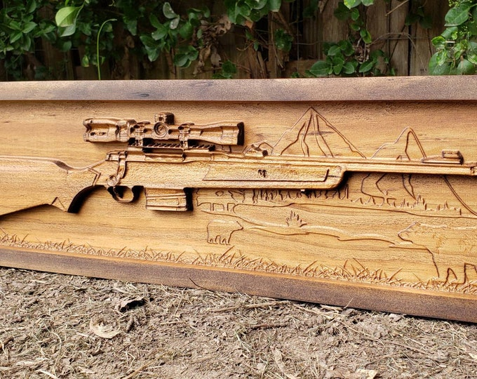 Wooden Hunting Rifle Sign Gift For Hunter Bear Sign Bear Decor Mountain Decor Mountain Landscape  Bear Sign Man Cave Gun Decor Cabin Decor