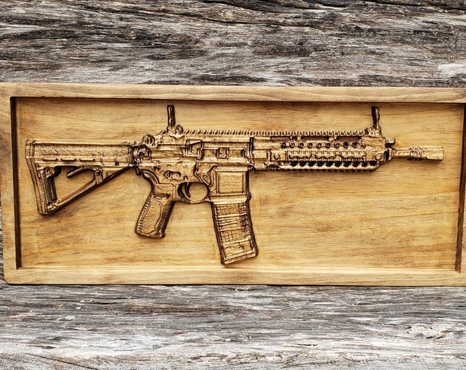 Wooden AR-15 Rifle Sign Ar 15 Gun Sign Gun Decor Man Cave Gun Sign Ar15 Rifle Military Gun Decor Tactical Ar15 Mancave Sign Wooden Gun Art