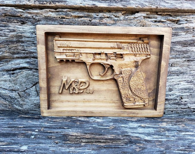 Handgun Sign Wooden Gun Decor Handgun Sign Guns Handgun Decor Gun Gift For Men Gun Sign Custom Gun Decor Custom Wooden Sign Mancave Decor