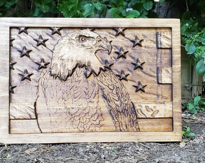 AMERICAN FLAG EAGLE Wooden Sign Patriotic Decor Military Decor United States Of America Decor Wooden American Flag Sign Wooden Bald Eagle