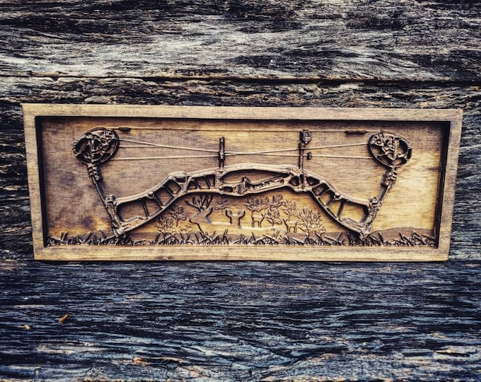 Wooden Hunting Bow Sign With Deer Scene