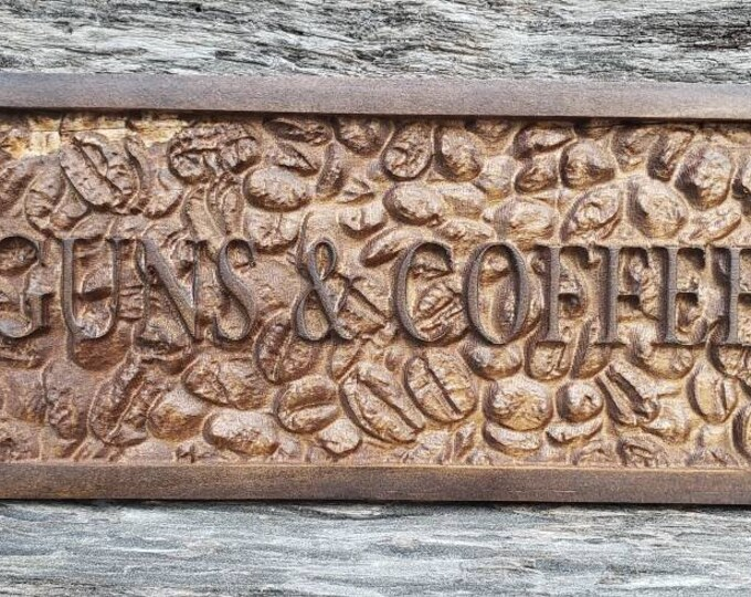 GUNS AND COFFEE Wooden Sign Coffee Lovers Gift Coffee Sign Coffee Decor Coffee Beans Guns And Coffee Decor Office Decor Father's Day Gift
