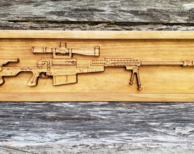 SNIPER RIFLE Gun Decor Custom Gun Sign Man Cave Gun Decor Gun Sign Military Gun Sign Rifles Gift For Men Father's Day Gift Idea Rifle Decor