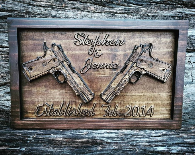 Custom Name Sign With Guns