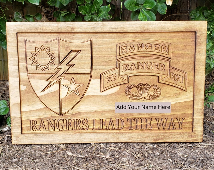 Customizable Army Rangers Sign 75th Ranger Regiment Army Logo Army Plaque Custom Military Plaque Parachutist Badge Custom Name Sign Man Cave