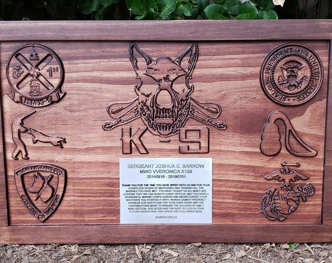 Customizable K-9 Sign Dog Sign K-9 Unit Police Dog Plaque Metal Plaque Marine Logo USMC HMX-1 Military Working Dog Guardians Of The Night