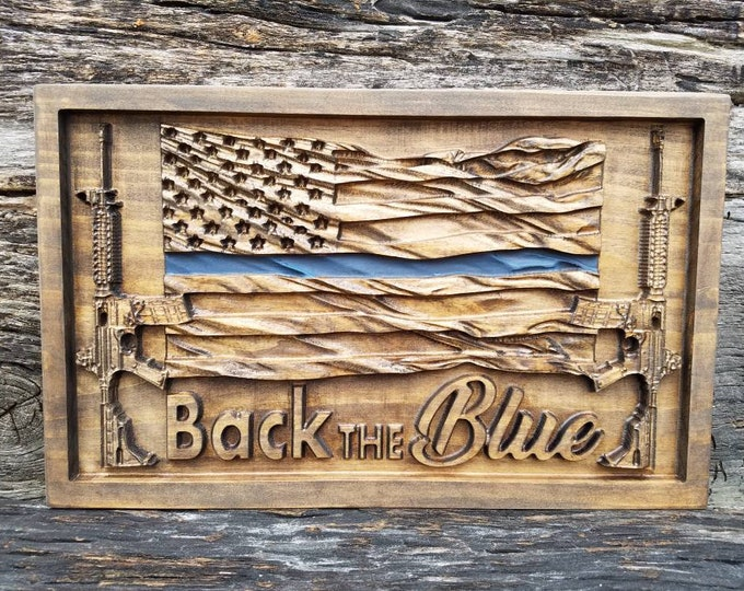 Back The Blue American Flag With AR-15s