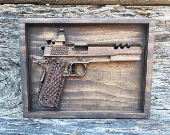 Wooden Handgun Sign