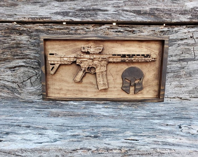 Wooden AR-15 300 Blackout With Spartan Helmet