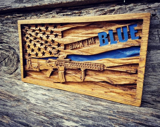 Back The Blue American Flag AR-15 Rifle Sign