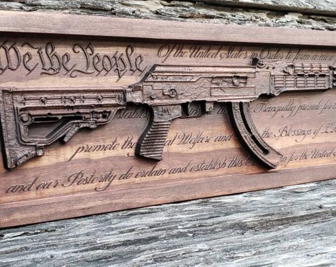 AK47 WITH CONSTITUTION Wooden Gun Decor Gun Sign Rifle Ak-47 Christmas Gift Man Cave Wedding Gift Custom Engraved Sign Personalized Gun Sign