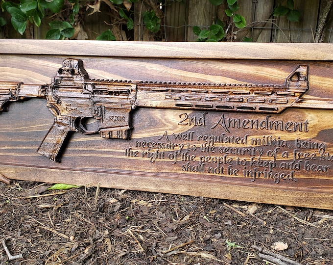 AR-15 Rifle With Second Amendment Of The United States Constitution