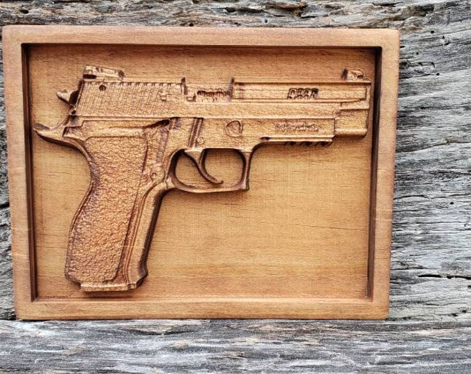 P226 Handgun Sign Wooden Gun Decor Man Cave Gun Sign Man Gift Handgun Decor Custom Gun Decor Framed Wooden Gun Sign Pistol Decor Gun Lovers