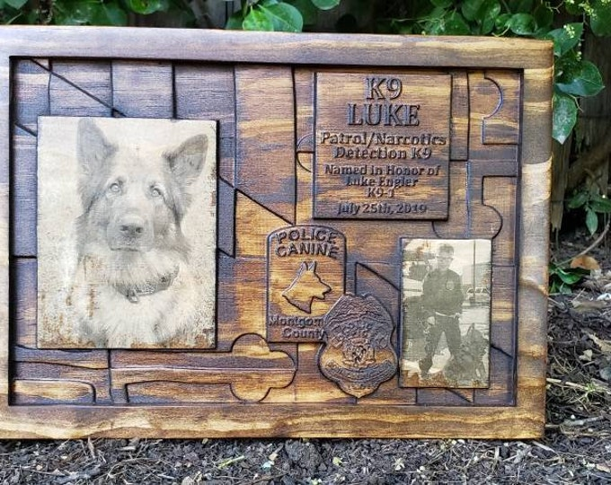 CUSTOMIZABLE K9 PLAQUE Back The Blue Thin Blue Line Photos On Wood Pictures On Wood Sign Custom Picture Sign Police K9 Law Enforcement Gifts