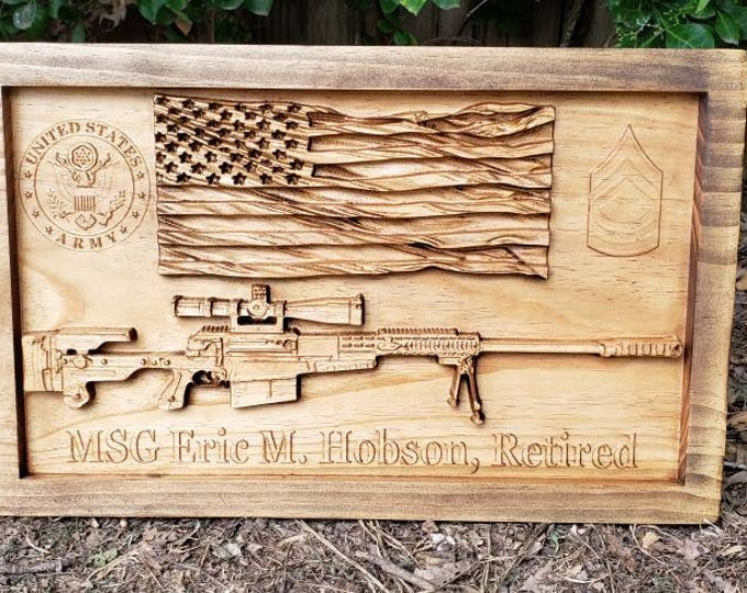 CUSTOMIZABLE Sign American Flag Sniper Rifle Patriotic Decor Man Cave Gun Decor Custom Name Sign Army Logo E-8 Insignia Rank Retirement