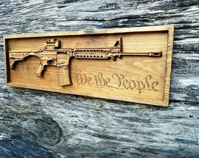 Ar-15 Rifle With We The People From The US Constitution