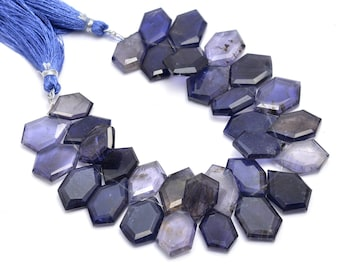 Natural Blue Iolite Faceted Fancy Unique Drop Loose Beads Strand 8 7.5mm 9mm